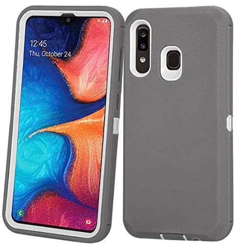 Annymall Samsung Galaxy A20 Case,Galaxy A30 Case,Galaxy A50 Case, Heavy Duty [with Built-in Screen Protector] Shockproof Defender Armor Protective Cover for Samsung Galaxy A20/A30/A50 (Grey/White)