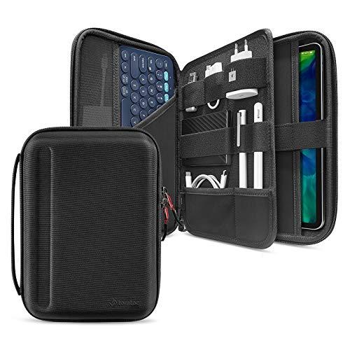 tomtoc PortFolio Storage Case per iPad Pro 11 '' / iPad Air 4 10.9 '' 2020 / 10.9 'iPad 8 / Surface Go 10.2', custodia protettiva per il trasporto Custodia Folio per Logitech K380 Keyboard, USB, cavi