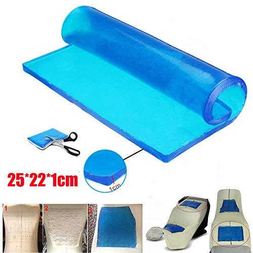 PJhao - Almohadilla de Gel para Asiento de Motocicleta, absorción de Impactos, Reduce la Fatiga, cómoda y Suave, cojín de Tela de enfriamiento, Accesorios de Color Azul Fresco (25 x 22 x 1 cm)