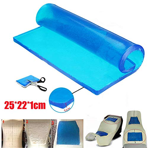 Lisyline Motorcycle Seat Gel Pad Shock Absorption Mats Reduce Fatigue Comfortable Soft Cooling Fabric Cushion Blue Cool DIY Saddle (25 x 22 x 1cm)