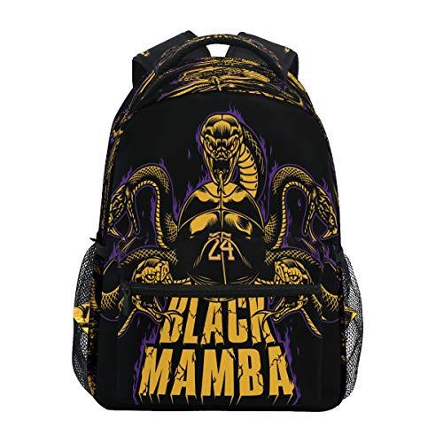 Schwarze Schlange Mamba Basketball Schulter Rucksack Bookbag für Teen Jungen Mädchen Kinderrucksack Laptop Büchertasche Rucksäcke