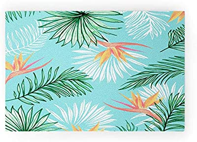 "Society6 83 Oranges Tropic Palm Welcome Mat, 30"" x 20"", Blue"