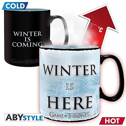 Game of Thrones Thermoeffekt Tasse XL Winter Is Here - schwarz/weiß, aus Keramik, in Geschenkkarton, Fassungsvermögen ca. 460 ml.