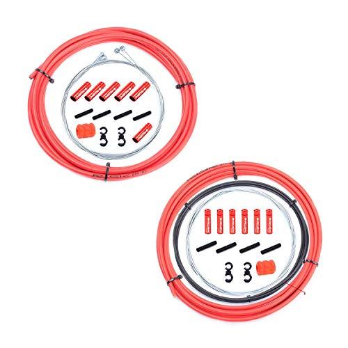 Cavo deragliatore universale 2 in 1 per freno e cambio (alloggiamento e cavi), set completo con tappi terminali in alluminio a S per mountain bike e mountain bike, Rosso