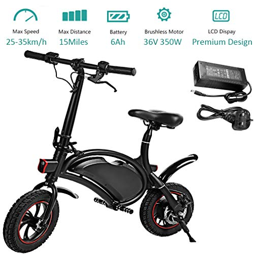 350W Folding Electric Bicycle with 15Mile Range Collapsible Lightweight Aluminum E-Bike Built-in 36V 6AH Lithium-Ion Battery, APP Speed Setting and Handlebar Display (Medium)
