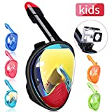 SSnorkel Mask 180 Panoramic View Free Breathing Full Face Snorkeling Masks with Detachable Action Camera Moun, Dry Top Set Anti-Fog Anti-Leak Diving Mask for Adults & Kids