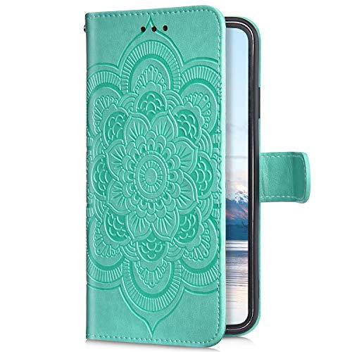 Uposao Compatible avec Huawei P30 Lite Coque Pochette Portefeuille Housse en Cuir,Bling 3D Motif Mandala Fleur Étui à Rabat Magnétique Premium Coque Stand Folio Flip Case Cover Wallet,Vert