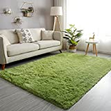 GKLUCKIN Shag Ultra Soft Area Rug, Fluffy 4'x6' Green Rugs Plush Non-Skid Indoor Fuzzy Faux Fur Rugs Furry Accent Carpets for Living Room Bedroom Nursery Kids Playroom Decor