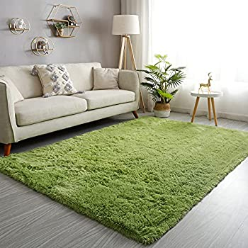 GKLUCKIN Shag Ultra Soft Area Rug Fluffy 4 x6  Green Rugs Plush Non-Skid Indoor Fuzzy Faux Fur Rugs Furry Accent Carpets for Living Room Bedroom Nursery Kids Playroom Decor