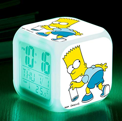 FTIK Digitaler quadratischer Wecker der Familie Simpson, Wake Up Led Luminous Silent Night Light Bunte Farbwechselbatterie USB A6