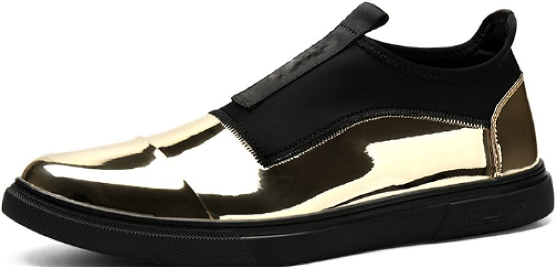 NIUMJ Men's Leather shoes Casual Autumn Fashion shoes British shoes Wear-Resistant Single shoes Round Head Set Foot