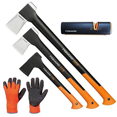 FISKARS© Set Spaltaxt X25 - XL + X17 - M + Universalaxt X10 - S + Xsharp Axt- und Messerschärfer + Handschuhe
