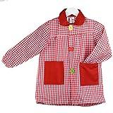KLOTTZ - Babi cuadros guardería Bata escolar con botones y amplio colorido. Protección ropa en comedores y manulidades en casa. Niñas color: ROJO talla: 2