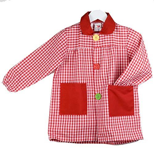 KLOTTZ 901B - Babi cuadros guardería Bata escolar con botones y amplio colorido. Protección ropa en comedores y manulidades en casa. Niñas color: ROJO talla: 3