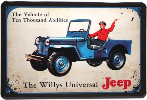 Blechschild Auto Jeep 20 x 30 cm Reklame Retro Blech 748