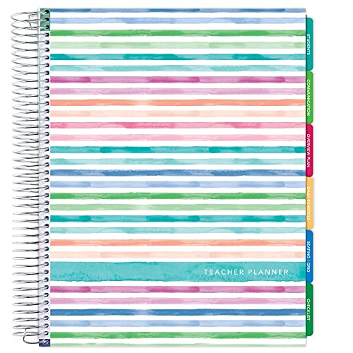 Deluxe Undated Teacher Planner: 8.5'x11' Includes 7 Periods, Page Tabs, Bookmark, Planning Stickers, Pocket Folder Daily Weekly Monthly Planner Yearly Agenda (Watercolor Stripes)