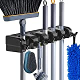 Mop and Broom Holder Wall Mount Heavy Duty Broom Garden Tool Organizer Mop Hanger Home Cleaning Supplies Organizations Storage Rack for Garage Laundry Room