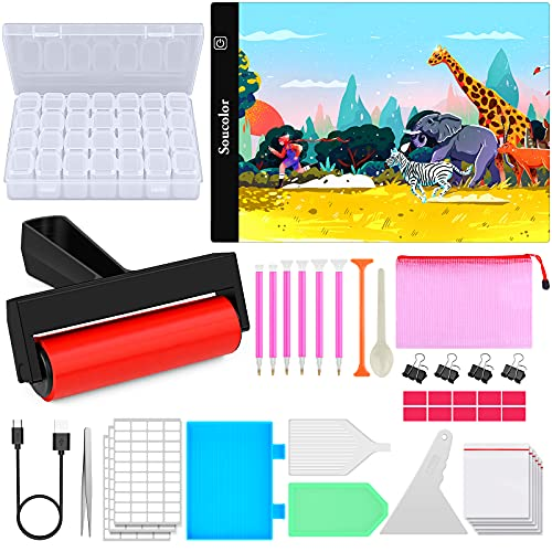 Diamond Painting Accessories and Tools Kits, with A4 LED Light Pad for Diamond Painting, Soucolor Light Board Box Kit Paint Diamonds Set, 5D Diamond Art Dots Supplies Painting for Beginners Adult (A4)
