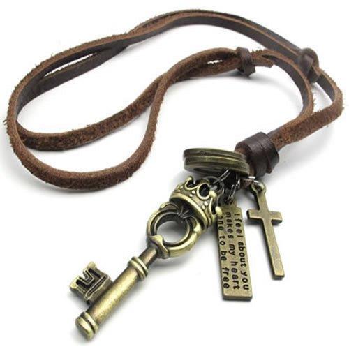 Joyería para hombre Konov de estilo Vintage Colgante Cruz Amor la llave de color marrón de la cadena de collar de cuero, color marrón (con bolsa para regalo)