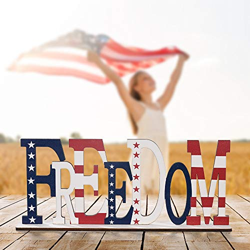 Wooden Independence Day Home Table Decoration 4th of July Election Decorations-American Flag Letter Sign Blessed Table Block Sign Centerpiece Decor Memorial Day (FREEDOM)