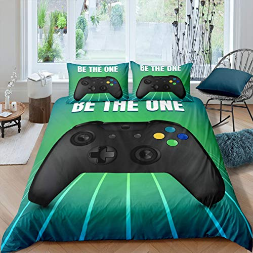 Erosebridal Modern Video Games Duvet Cover Set,Kids Boys Youth Man Gamer Gamepad Printed Bedding Set,Gaming Theme Home Decorative 3 Piece Bedding Set with 2 Pillow Shams,King Size