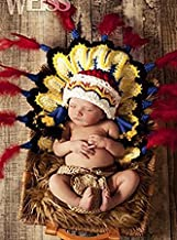 Eyourhappy Baby Newborn Handmade Knitted Crochet Hat Costume Baby Photograph Props Set Indian Chief