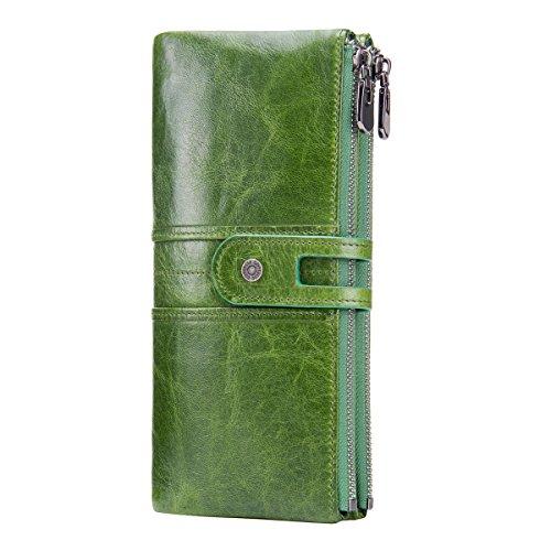 Contacts - Portafoglio da donna in vera pelle, con chiusura lampo, Verde (verde), Taglia unica