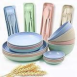 20-teiliges Geschirr-Set aus Weizenstroh, leichte Teller, Schüsseln, Löffel und Gabel, unzerbrechliches Geschirr-Set für Picknick, Party, Grillen, Hochzeit, Camping (B6)