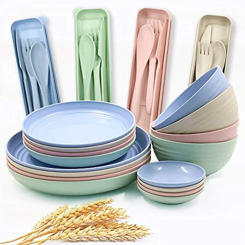 Juego de vajilla de paja de trigo, platos ligeros, cuchara y tenedor, juego de vajilla irrompible para picnic, fiesta, barbacoa, boda, camping (B6)