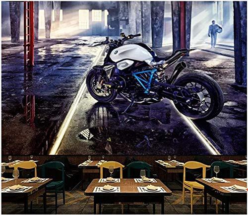 Tapete 3D Fototapete Kinderzimmer 400 * 280Cm Retro Industrielles Stil Cooles Motorrad Wandbild Dekoration - Foto-Tapeten Wandtapete Fotoposter Jungen Mädchen Schlafzimmer Dekoration