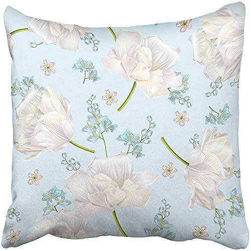 SSHELEY Kissenbezüge Fällen Frühlingsblume mit Tulpen auf Elegante Ausschreibung für Naturkosmetik Parfüm Florist Gruß Kissenbezüge Fall Abdeckung