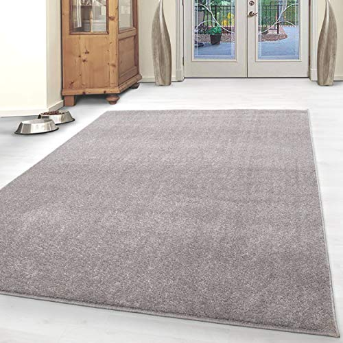 HomebyHome - Tappeto moderno a pelo corto, tinta unita mélange, per salotto, camera da letto, corridoio, cucina, colore: beige, 100% polipropilene, beige., 200 x 290 cm
