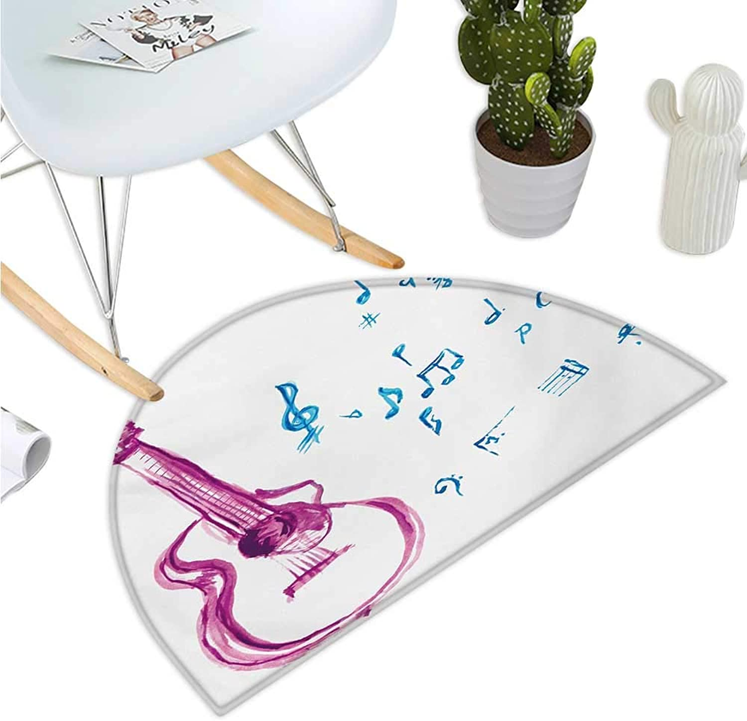 Guitar Semicircular Cushion Watercolor Musical Instrument with Notes Sheet Elements Brush Stroke Effect Entry Door Mat H 43.3  xD 64.9  Magenta bluee White