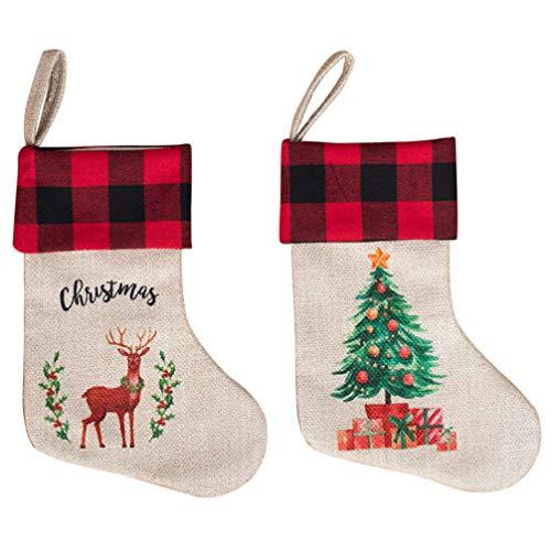 SOIMISS 2Pcs Weihnachtsstrümpfe Leinen Santa Claus Süßigkeiten Taschen Weihnachtsbaum Ornamente Elch Geschenk Socken für Urlaub Kinder Geschenke Kamin Dekoration