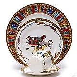 SZJY Vajilla de 16 Piezas, Juego de vajilla de Porcelana de Hueso Juego de vajilla Taza de café Bandeja de Servicio Cocina para 4 Personas