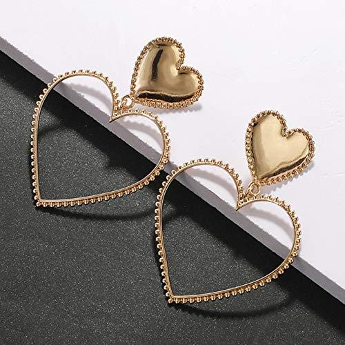 Fashion Boho Statement Earrings For Women Bohemia Metal Gold Color Evil Eye Heart Lips Long Drop Earrings,Gold Heart Hollow