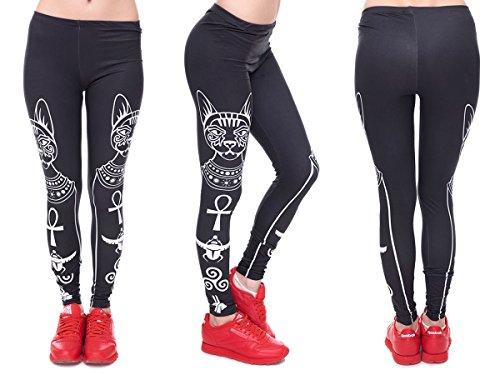 Alsino Leggings Damen Bedruckt Sexy Leggins Ladies mit Print Look Motiv Muster Stretch Legins Hose, Variante wählen:LEG-094 Katzengöttin