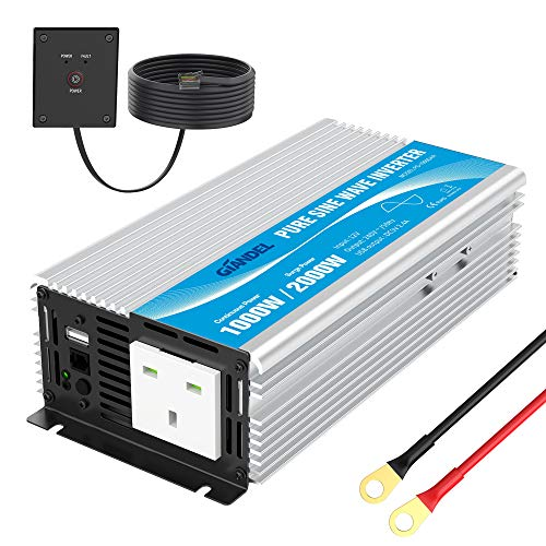 Pure sine wave power inverter 1000w DC 12V to AC 240V with Remote Control with AC outlet &2.4A USB Port for RV Truck Car Giandel