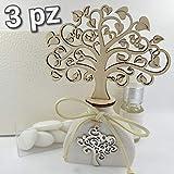 3pz bomboniere utili profumatore/diffusore Albero della Vita e Ciondolo Confetti crispo (profumatori Pendente Albero)