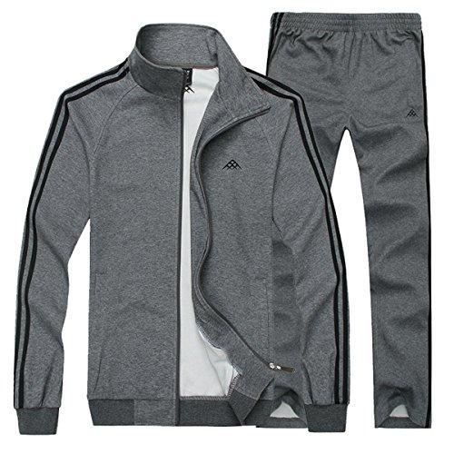 Mirecoo Herren Jogginganzug Trainingsanzug Fitness, Dunkelgrau, XL