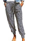 KIRUNDO 2020 Women's Jogger Long Pants Drawstring Elastic Waist Sweatpants Camouflage Lounge with Pockets(S-XL) (X-Large, Leopard-Gray)