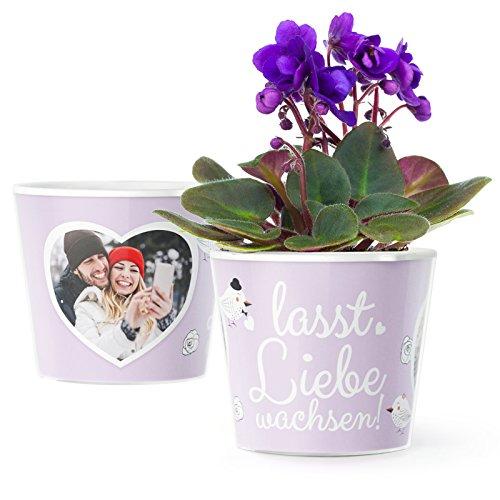 Hochzeitsgeschenk Blumentopf (ø16cm) | Geschenk für das Paar zur Hochzeit, Trauung oder Standesamt mit Rahmen für Zwei Fotos (10x15cm) | Lasst Liebe wachsen!