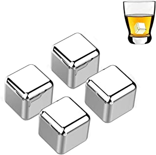 Liangery 304 Stainless Steel Ice Cubes, Freezable Metal Ice Stones for Wine Reusable Chilling Stones for Whiskey Rocks Non Melting Beer Chiller Cooling Artificial ice cubes Pack Gift for Wine Lover