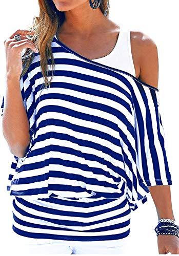 Uniquestyle Damen Gestreiftes T-Shirt Sommer Kurzarm Oberteile 2 in 1 Strandshirt (Royal Blau, XL)
