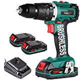 Cordless Drill Driver,Brushless 20V Hammer Drill with 2Pcs 2.0Ah Battery Combi Drill Set,50N.m Electric Screwdriver,19+3 Torque,2-Variable Speed,1/2' Metal Chuck Impact Drill
