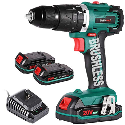 Cordless Drill Driver,Brushless 20V Hammer Drill with 2Pcs 2.0Ah Battery Combi Drill Set,50N.m Electric Screwdriver,19+3 Torque,2-Variable Speed,1/2