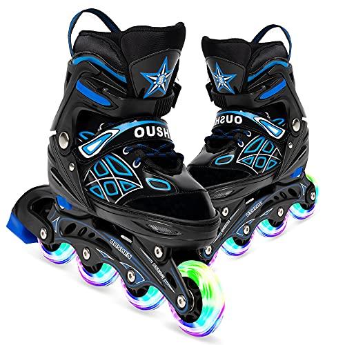 Opurtdor Patines en línea,Ajustable Diversión Flashing Roller para Chicos y Chicas Hombres Mujeres Zapatos de Patinaje de Velocidad para Principiantes Especializados(Azul, Medium(31-37))