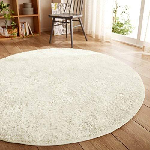 HIGHKAS Super Fluffy Area Rugs,Non-Slip Round Carpet,Ultra Soft Floor mats Living Room Bedroom Carpet Woman Yoga mat-White 80x80cm(31x31inch)