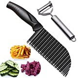 Upgraded Potato Crinkle Cutter, Stainless Steel Waffle Fly Cutter with a Julienne Peeler, Wavy Vegetable Slicer Kitchen Chopper Knife for Baby Food veggie Salad Carrots French Fries, Black by Jonbyi