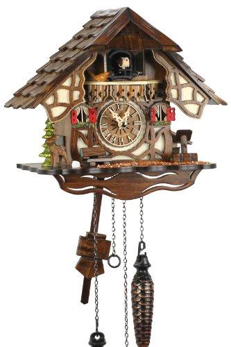 Eble - Orologio a cucù in vero legno, movimento al quarzo, funzionamento a batteria, 24 cm, 21452